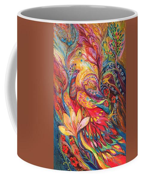 Original Coffee Mug featuring the painting Mystery Of Blue Pigeons by Elena Kotliarker