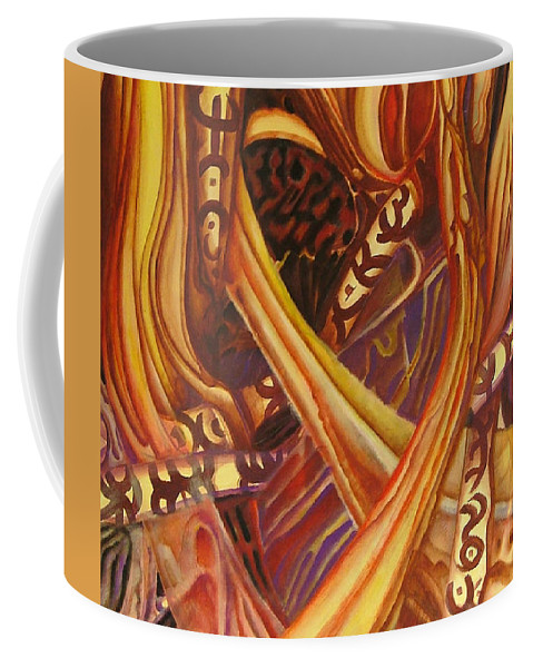 Abstraction Coffee Mug featuring the painting Mystery Signs by Rita Fetisov