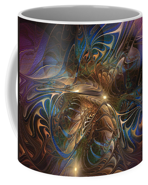 Abstract Coffee Mug featuring the digital art Mystery Spread Its Cloak by Casey Kotas
