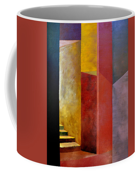 Gold Coffee Mug featuring the painting Mystery Stairway by Michelle Calkins