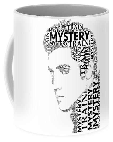 Alicegipsonphotographs Coffee Mug featuring the digital art Mystery Train Elvis Wordart by Alice Gipson