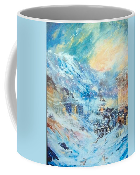 Abstract Train Impression Coffee Mug featuring the painting Mystery Train by Gerald Lilly