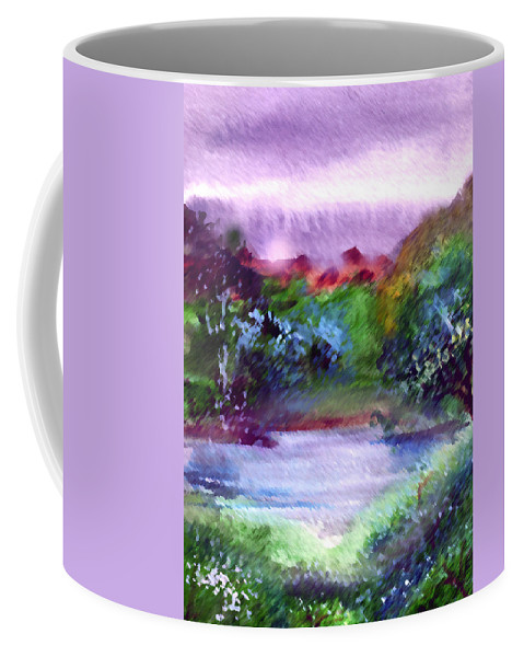 Lake Coffee Mug featuring the painting Mystic Lake by Anil Nene
