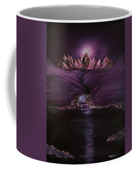 Purple Coffee Mug featuring the painting Mystic Mountains by Mike Parsons