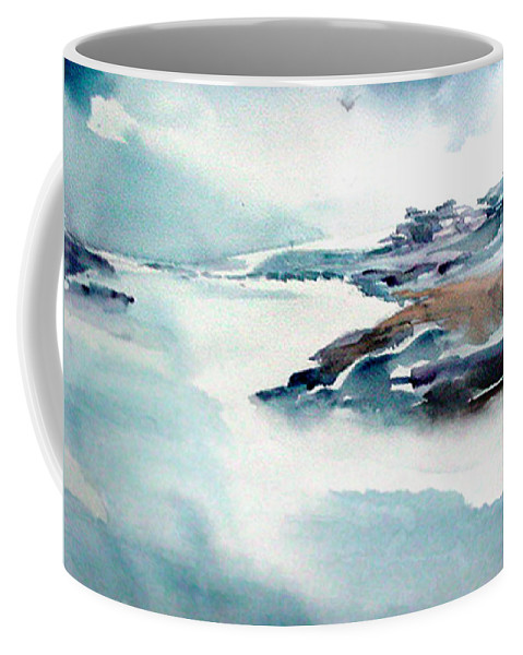 River Coffee Mug featuring the painting Mystic River by Anil Nene