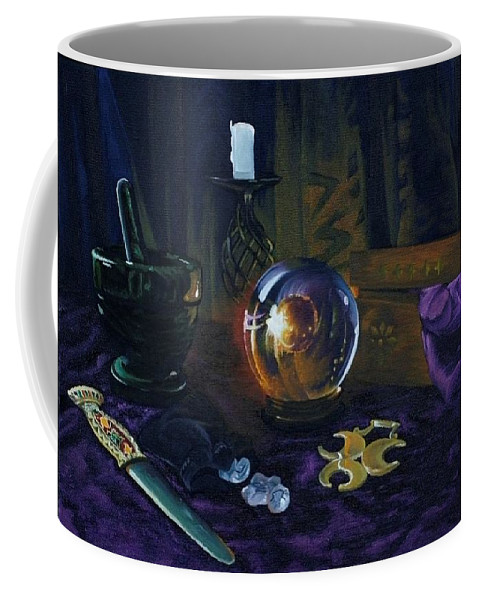 Still Life Mystic Crystal Ball Pestle Mortar Knife Runes Horse Brasspuple Silk Candle Coffee Mug featuring the painting Mystic Still Life by Pauline Sharp