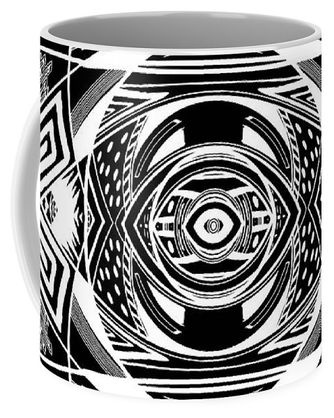 Pattern Coffee Mug featuring the digital art Mystical Eye - Abstract Black And White Graphic Drawing by Nenad Cerovic