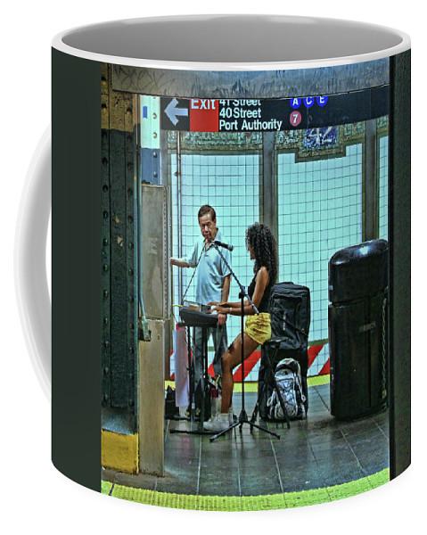 Art Coffee Mug featuring the photograph N Y C Subway Scene # 13 by Allen Beatty