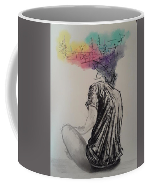 Charcoal Coffee Mug featuring the drawing na by Marcus Arceneaux