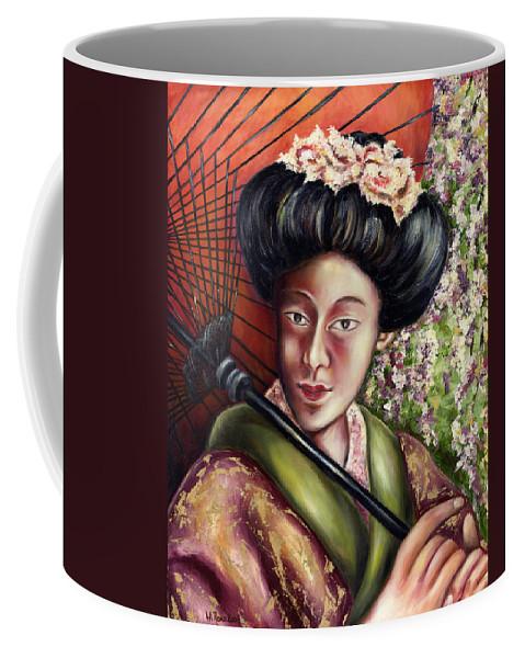Japanese Coffee Mug featuring the painting Nadeshiko by Hiroko Sakai
