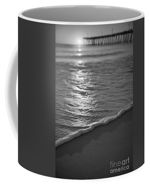 Nags Head Fishing Pier Coffee Mug featuring the photograph Nags Head First Light Bw by Michael Ver Sprill