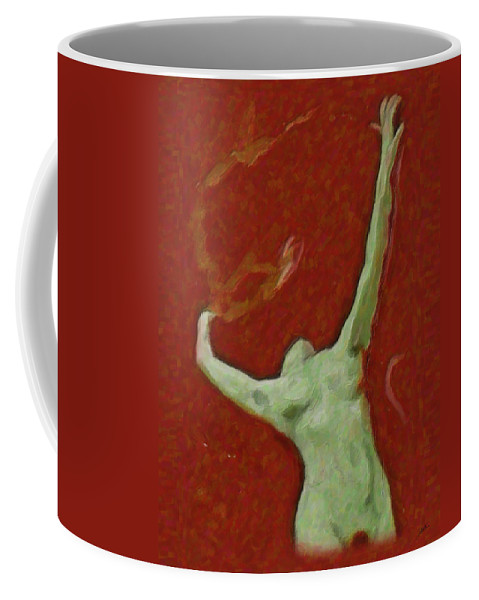 Abstract Coffee Mug featuring the painting Naked Dance Of The Enchantress by Quim Abella