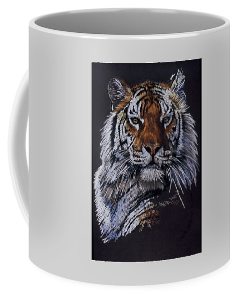 Tiger Coffee Mug featuring the drawing Nakita by Barbara Keith