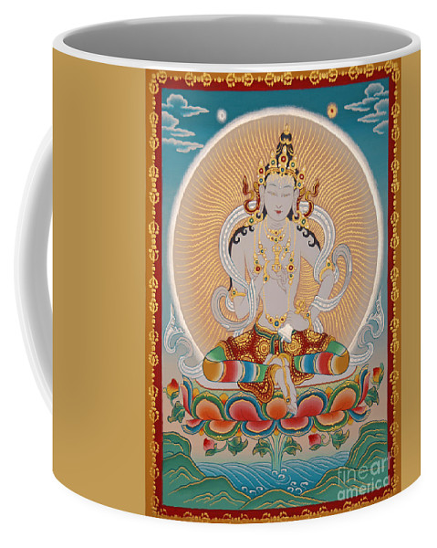 Thangka Coffee Mug featuring the painting Namcho Vajrasattva by Sergey Noskov