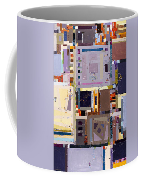 Geometric Abstract Coffee Mug featuring the painting Nano Night Music by Regina Valluzzi