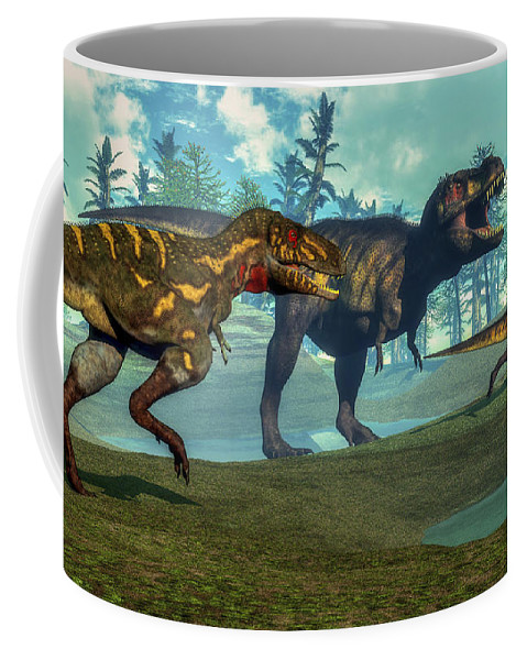 Tyrannosaurus Rex Coffee Mug featuring the digital art Nanotyrannus Hunting A Small by Elena Duvernay