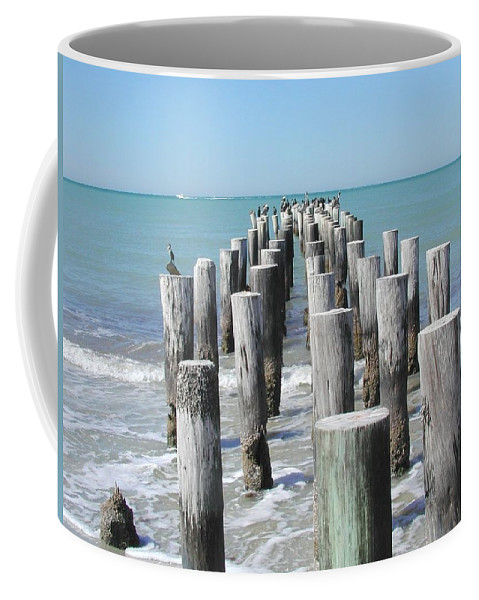 Ocean Coffee Mug featuring the photograph Naples Pier by Tom Reynen