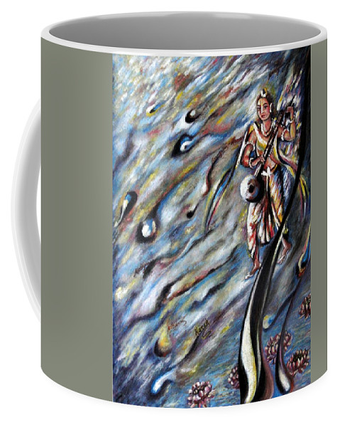 Narad Coffee Mug featuring the painting Narada Muni by Harsh Malik