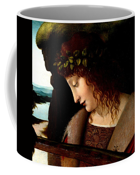Giovanni Antonoio Boltraffio Coffee Mug featuring the painting Narcissus Detail by Follower of Giovanni Antonoio Boltraffio