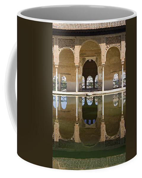 Moorish Coffee Mug featuring the photograph Nasrid Palace Arches Reflection At The Alhambra Granada by Mal Bray