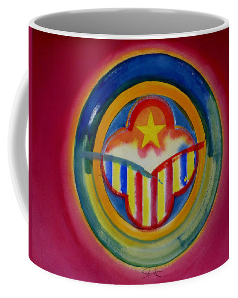 Button Coffee Mug featuring the painting Native American by Charles Stuart