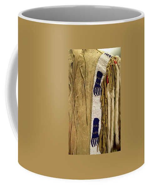 Native American Coffee Mug featuring the photograph Native American Great Plains Indian Clothing Artwork Vertical 06 by Thomas Woolworth