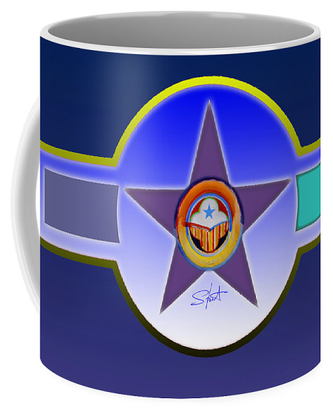 Insignia Coffee Mug featuring the painting Native American Landscape by Charles Stuart