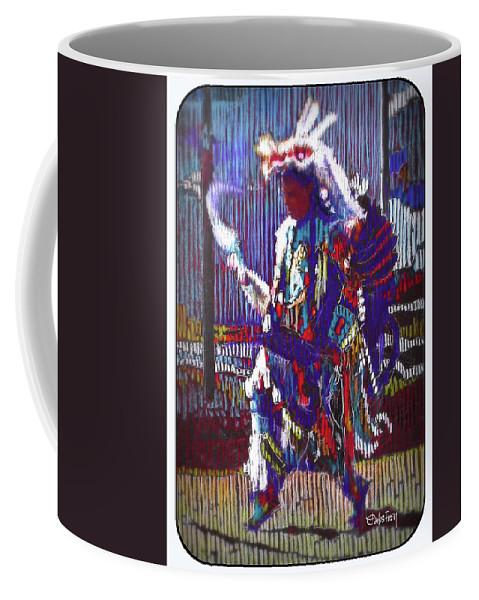 Native American Coffee Mug featuring the pastel Native American - Male Fancy Dancer #4 by Carlos Frey