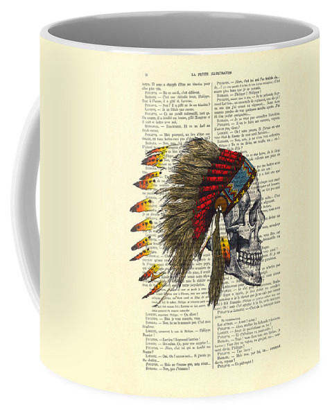Native American Coffee Mug featuring the digital art Native American Skull by Madame Memento