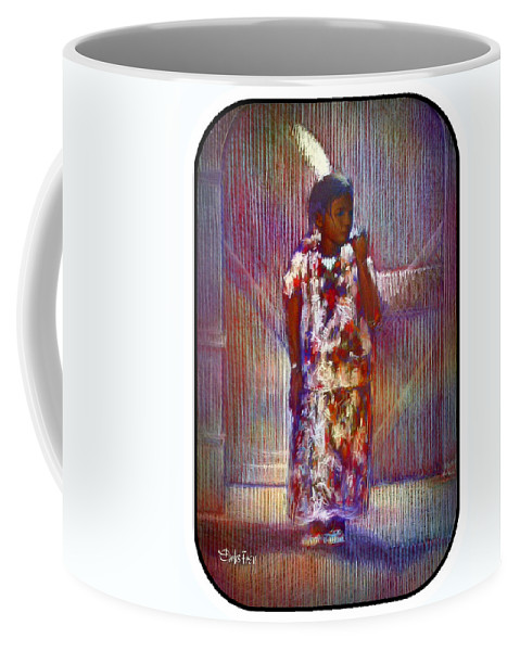 Native American Coffee Mug featuring the pastel Native American - Young Girl Standing In Doorway by Carlos Frey