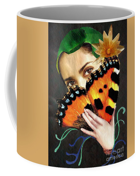 Woman Coffee Mug featuring the mixed media Natural Beauty by Sarah Loft