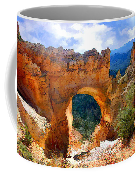 Nature Coffee Mug featuring the painting Natural Bridge Arch In Bryce Canyon National Park by Elaine Plesser
