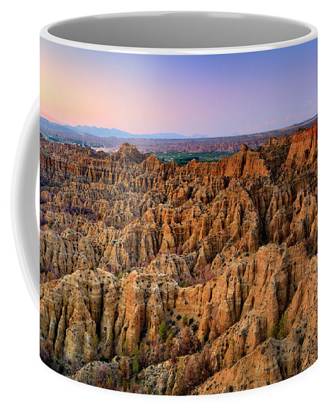 Sunset Coffee Mug featuring the photograph Natural Monument Carcavas Del Marchal II by Guido Montanes Castillo