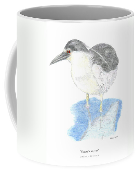 Black Heron In Water Coffee Mug featuring the drawing Nature by David Weaver