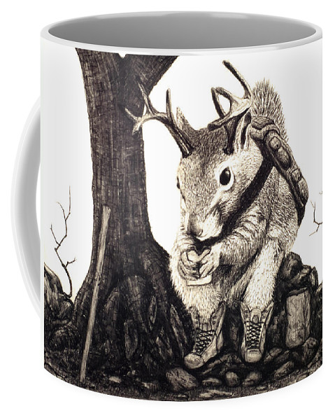 Animal Coffee Mug featuring the drawing Nature Hike by Jaison Cianelli