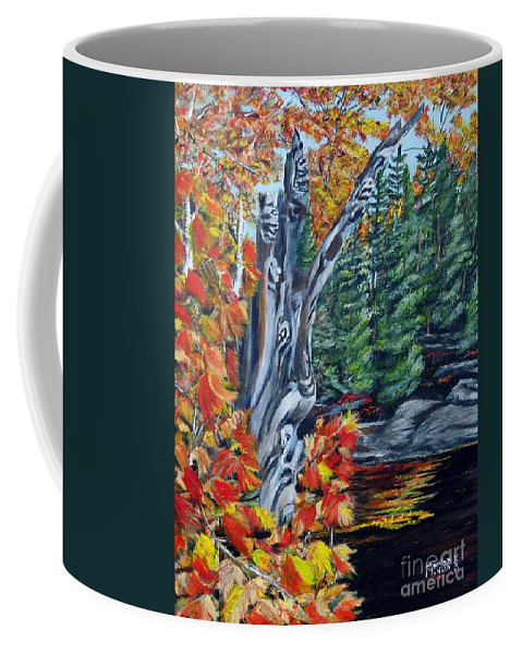 Dead Stump Coffee Mug featuring the painting Natures Faces by Marilyn McNish