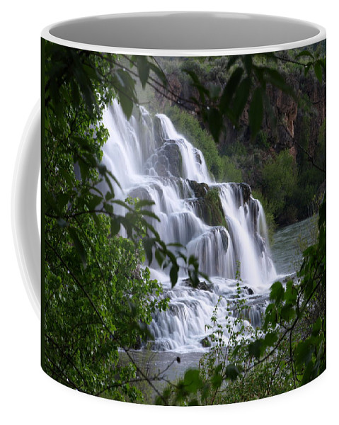 Water Coffee Mug featuring the photograph Nature's Framed Waterfall by DeeLon Merritt