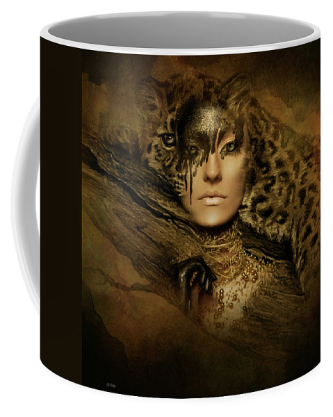 Leopards Coffee Mug featuring the mixed media Nature's Spotted Ghost by G Berry