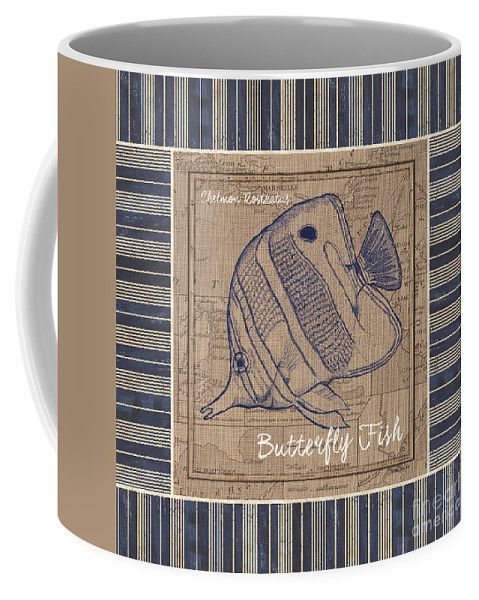 Sea Coffee Mug featuring the painting Nautical Stripes Butterfly Fish by Debbie DeWitt