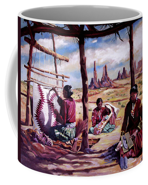 Native American Coffee Mug featuring the painting Navajo Weavers by Nancy Griswold