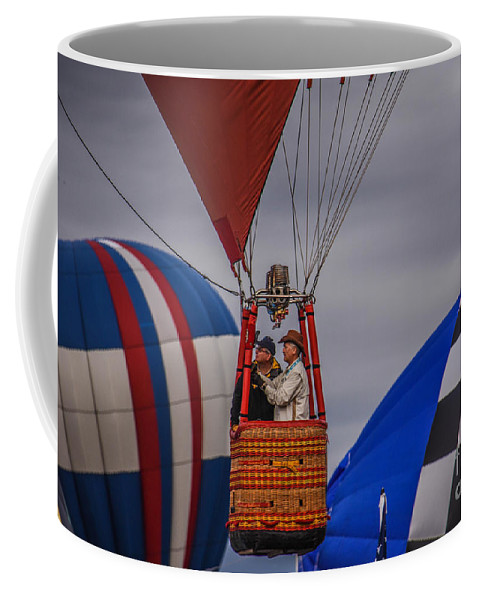 Hot Air Balloon Coffee Mug featuring the photograph Navigating by Grace Grogan