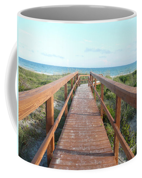 Boardwalk Coffee Mug featuring the photograph Nc Beach Boardwalk by Barb Montanye Meseroll
