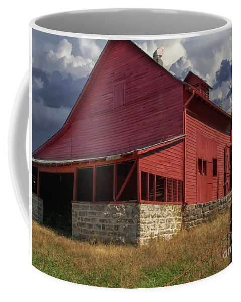 Barn Coffee Mug featuring the photograph Nc Red Barn by Dale Powell