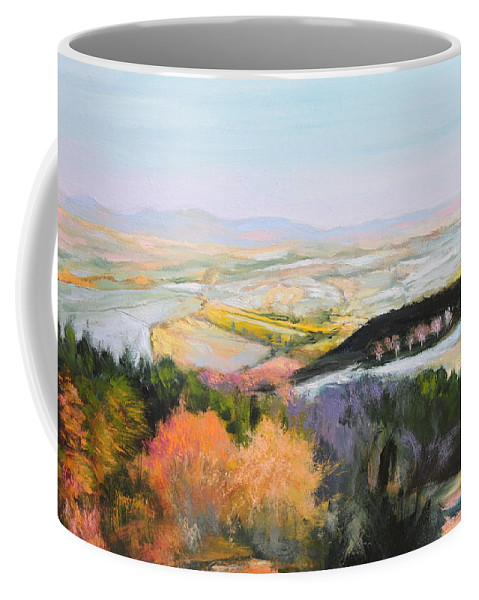 Wales Coffee Mug featuring the painting Near Clawddnewydd In North Wales. by Harry Robertson