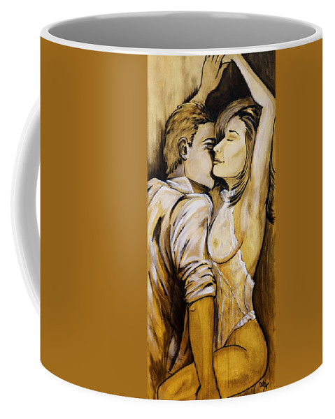 Nearly Naked Sepia Coffee Mug featuring the painting Nearly Naked Sepia by Debi Starr