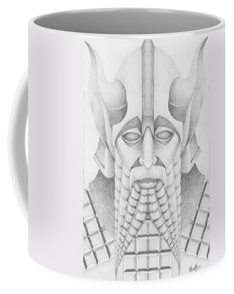 Babylonian Coffee Mug featuring the drawing Nebuchadezzar by Curtiss Shaffer