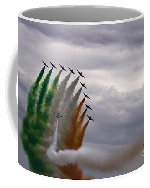 Frecce Tricolori Coffee Mug featuring the photograph Nec Hercules Contra Plures by Angel Ciesniarska