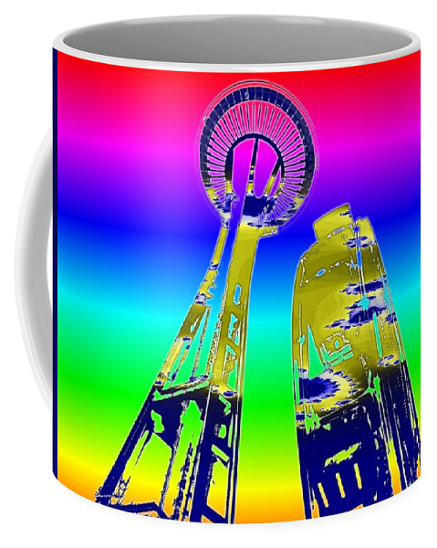 Seattle Coffee Mug featuring the digital art Needle And Ferris Wheel Fractal by Tim Allen