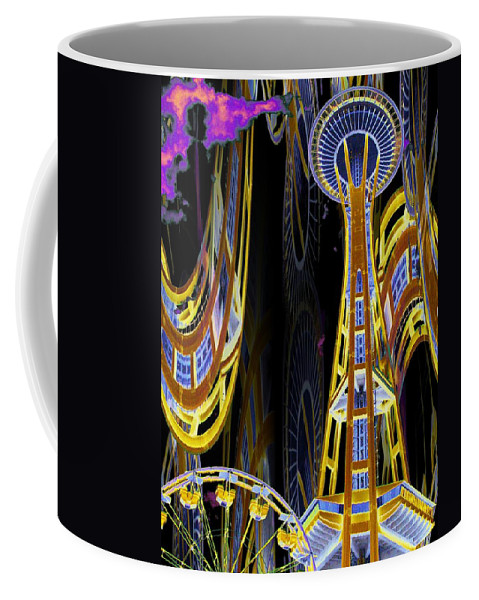 Seattle Coffee Mug featuring the digital art Needle And Ferris Wheel by Tim Allen