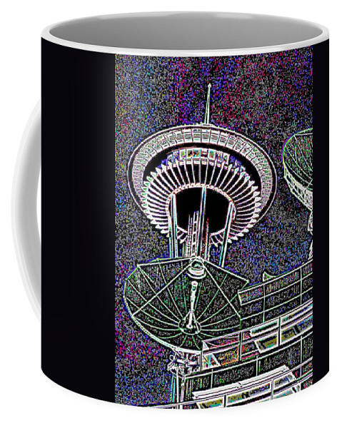 Seattle Coffee Mug featuring the digital art Needle Over Fisher Plaza by Tim Allen